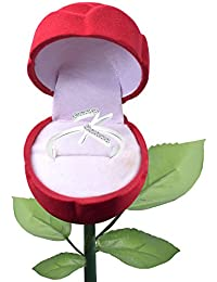 Vighnaharta Initial ''K'' Alphabet With Rose Ring Box CZ Rhodium Plated Alloy Finger Ring For Girls And Women...