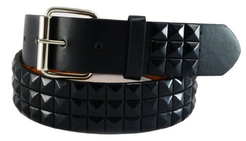 Nice Shades Bonded Leather/faux Punk Studded Belt (Many Sizes & Colors Available) (X-Large, Black & Black)