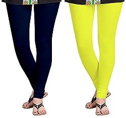 Aannie Women's Cotton Slim Fit Leggings Combo Pack of 2(XX-Large,Navy Blue,Lemon)