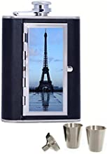 The Eiffel Tower Custom Personalized Printed 6oz Black Faux Leather Hip Flask