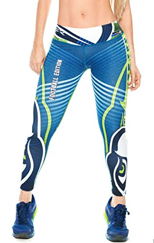 Seattle Seahawks Football Leggings NFL Yoga Pants Women's Compression Tights (Halloween Costumes Seattle)