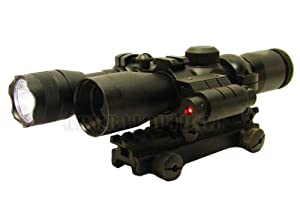 4x30 Tactical Scope AR15 Flat top riser tri-ring mount with strobe flashlight and laser sight