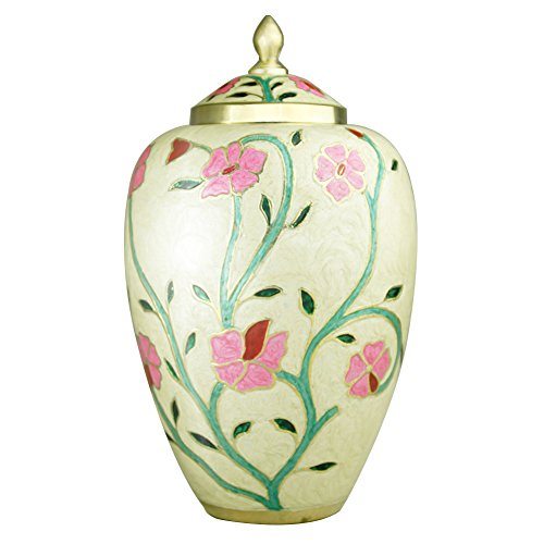 Funeral Urn by Meilinxu -Cremation Urn for Human Ashes Adult and Memorial - Hand Made in Brass- Hand-Painted- Display Burial Urns At Home or in Niche at Columbarium (Fleur Pink Urn, Large Keepsake Urn (Medium Size Urns For Human Ashes compare prices)
