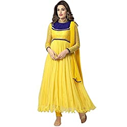 Cenizas New Arrival Yellow Colour Net Material Semi-Stiched Salwar suits