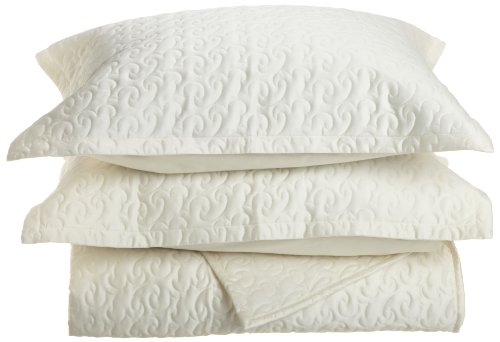 Tuscany Fine Italian Linens Egyptian Cotton Quilted Coverlet Set, Queen, Ivory back-6132