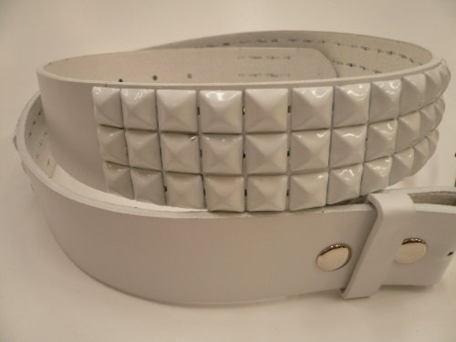 studded belt emo. studded leather elt White
