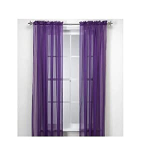 1 pc dark purple sheer panel curtain drapes