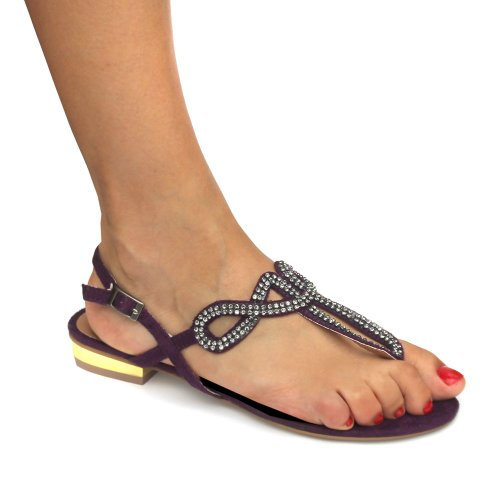 Odeon Purple Faux Suede Diamante Womens Slingback Sandals