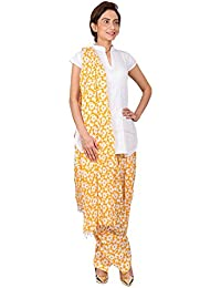 Womens Cottage Yellow Circular Printed Cotton Semi Patiala & Cotton Dupatta With Beads