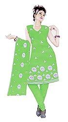 Sagi Women's Cotton Unstitched Dress Material (SECDM-05_Green_Free Size)