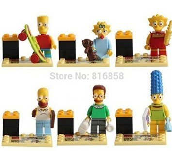 6pcs/lot The Simpsons Mini Figures Blocks Toys Simpsons Minifigures Building Block Compatible with lego Children Toys (WITHOUT original box) (The Simpsons Season 25 compare prices)