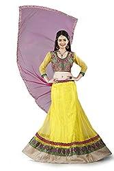 Lehenga Choli Yellow Color Free Size Circular Style Fully Stitched Womens Net Lehenga by Pushpila