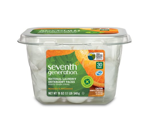 Seventh Generation Natural Laundry Detergent Packs, Mandarin and Sandalwood, 30 Count (pack of 2)