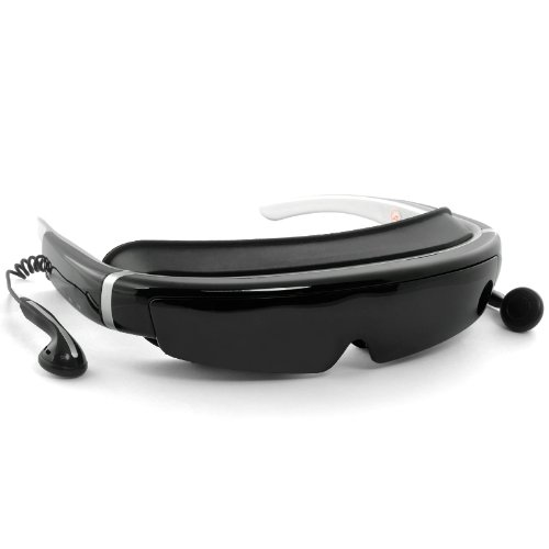 3D Virtual Screen Video Glasses – 98 Inch Virtual Screen, 16:9, FHD 1080p, Built-in 8GB Flash Memory, AV In