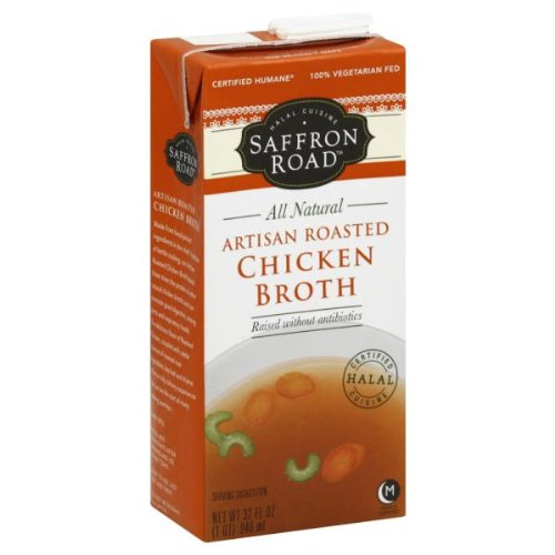 Saffron Road All Natural Chicken Broth Artisan Roasted — 32 fl oz image