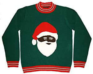 Ugly Christmas Sweater - Black Santa Clause Holiday Sweater by Skedouche