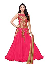 Aarsh Apparel Pink Net Embroidery Anarkali Suit