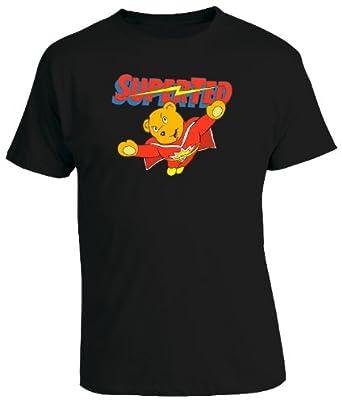 Superted Cartoon Mens T-Shirt - Black Small