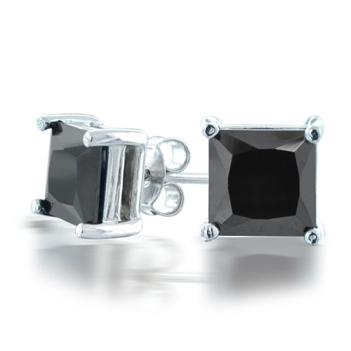 Bling Jewelry Unisex Mens Black CZ Sterling Silver Basket Set Square Princess Cut Stud Earrings (1ct 6mm)