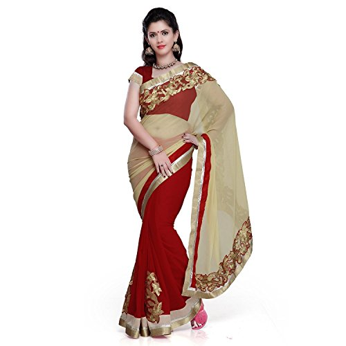 Sky Global Women's Red Cream Chiffon Saree With Unstitched Blouse (Red Cream_Saree_2006)