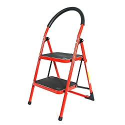LussoLiv Red Family-use Portable Household Ladder 2 Steps Folding Stool Ladders Stair Platform