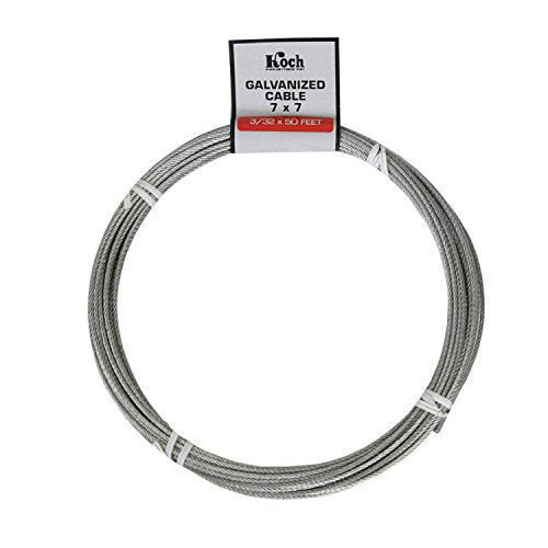 Koch A40074 7 x 7 Pre-cut Galvanized Wire Rope Cable 3/32-Inch by 50-Feet, Coil (Wire Rope Cable compare prices)