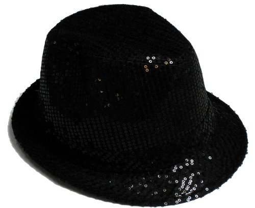 Funstuff Women's Michael Jackson Sequin Fancy Dress Fedora Trilby Hat