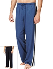 2 Pack Pure Cotton Drawstring Waist Pyjama Bottoms