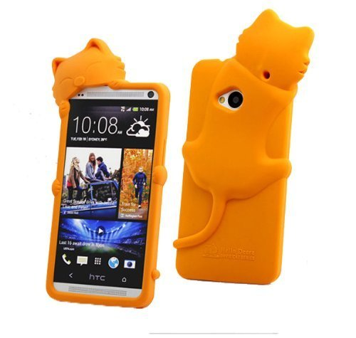 New Cartoon 3D Orange Kiki Cat Pattern Soft Silicone Case Protective Cover For Htc One M7 (With Earphone Anti Dust)