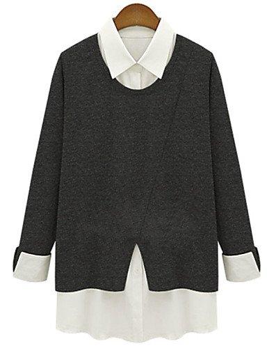 ZXR-femmes-de-patchwork-noirgris-pour-femme-col-chemise--manches-longues-plus-Tailles