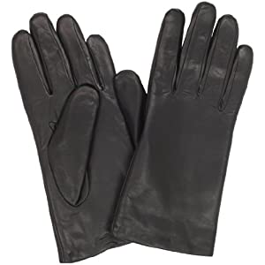 Isotoner Women's Smooth Leather Two Button Length Glove with Thinsulate Lining, Black, 8