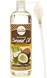 Fractionated Coconut Oil - with Pump - (Liquid) 16 Oz ★ 100% Pure Therapeutic Grade ★ Carrier Oil for Essential Oils, Aromatherapy, Massage ★ Fragrance Free, Non-Greasy, Non-Staining, Hexane-Free ★ Soothing Skin & Hair Moisturizer ★ Recipe E-Boo