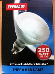 250w ES E27 Screw In Heat Lamp Bulb Clear