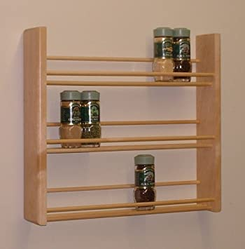 Wood spice racks for home kitchen - Wall mounted spice racks for kitchen ...