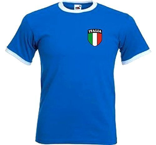 Italia Italiano Italia Retro Stile Nazionale Calcio Squadra T-Shirt Maglia - M