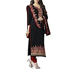 Destiny Enterprise Embroidered Cotton Unstitched Party Wear Black Color Dress Material for Women