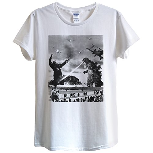 King Kong vs Godzilla Maglietta Design/panico Retro Epic divertente Unisex Donne con angoli White Medium