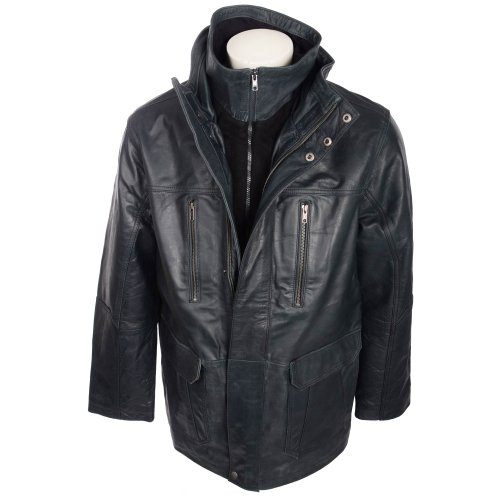 Harbour Collection Men's Navy Limited Edition Buffalo Leather Jacket In Size 3XLarge