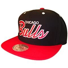 Chicago Bulls Mitchell & Ness Black & Red Adjustable Snap Back Snapback... by MLB Snap Back Caps