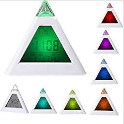 7 Color Change LED Digital Alarm Clock Thermometer LCD Clock White Pyramid Design