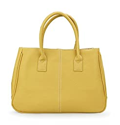 Hoxis Classical Office Lady Minimalist Pebbled Faux Leather Handbag Tote/ Magnetic Snap Purse (Mustard)