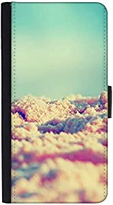 Snoogg Beach Sands Graphic Snap On Hard Back Leather + Pc Flip Cover Htc M7