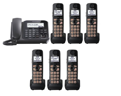 Panasonic Factory Refurbished Kx-Tg4773B + 3 Kx-Tga470B Handsets (6 Cordless Handsets Total) Dect 6.0 Plus Expandable Digital Corded / Cordless Phone System (Kx-Tg4776B, Kx-Tg4772B + 4, Kx-Tg4771B + 5)