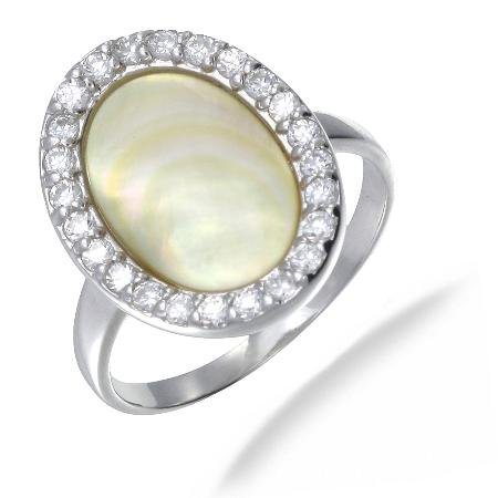 18MM Mother of Pearl Ring In Sterling Silver (Available in Sizes J - S)