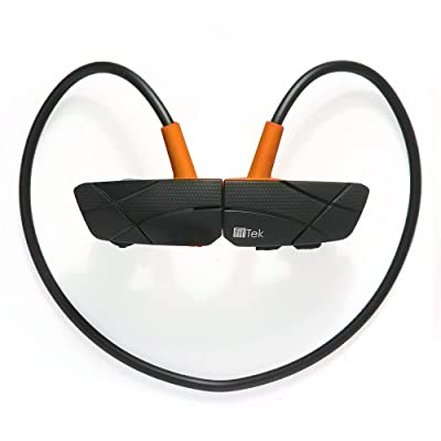 fitTek® Stereo Wireless Universal Bluetooth Sports In-ear Headset Headphones Earphones Earbuds Earpiece Exercise Handsfree for iPhone 5s 5c 4s 4, Android, Samsung Galaxy, LG, HTC, NOKIA, Motorola, Smart Phones and Other Bluetooth Devices (Orange)