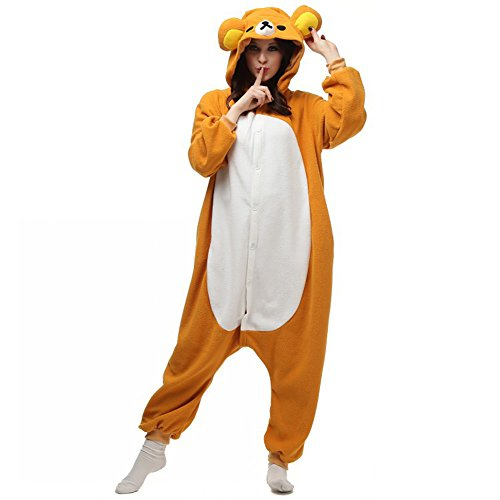 Autek Animal Unisex Onesie Fancy Dress Costume Hoodies Pajamas Sleep Wear Rilakkuma Bear (Medium) (Teddy Bear Onesie compare prices)