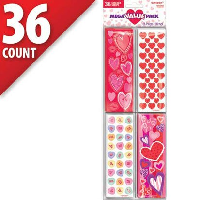 Valentine's Day Stickers Mega Value Pack 36 Sheets