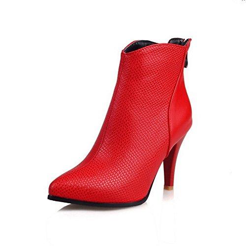 VogueZone009 Donna Tacco Alto Puro Scarpe A Punta Cerniera Stivali con Metallo, Rosso, 41