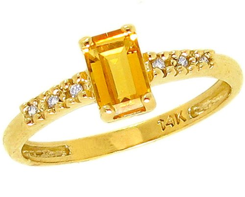14K Yellow Gold Sweet Octagon Gemstone and Diamond North-South Promise Ring-Citrine, size5.5