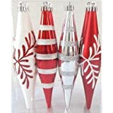 Queens Of Christmas WL-FIN-12PK-SFLN-RW Decorative Finial Ornament With Snowflake And Line Glitter Design, Red...